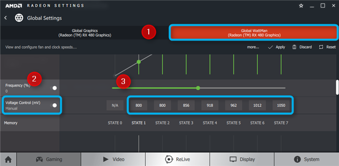This is a screen capture of the Wattman settings with the voltage being tweaked.