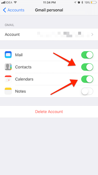 iPhone to Android contacts settings 2