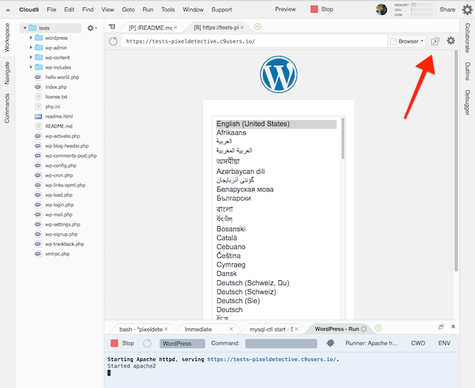 install wordpress on cloud 9 9