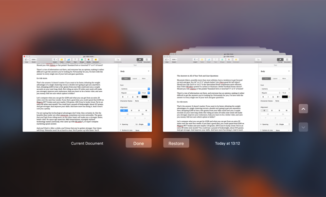 How to Restore Past Versions of Pages, Word, and Other Mac