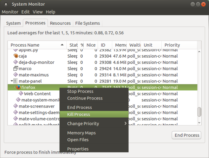 Kill a Linux process in the system monitor tool