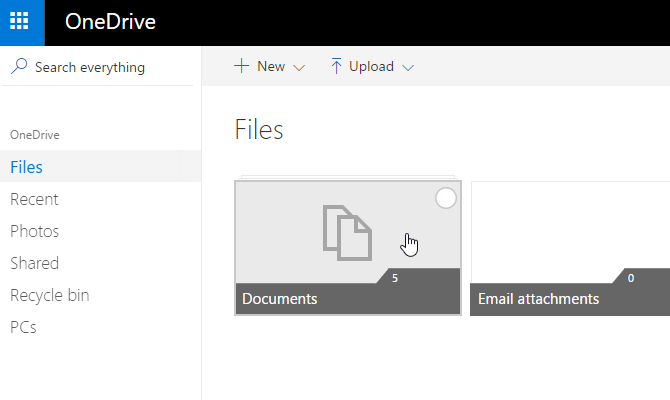 onedrive documents select