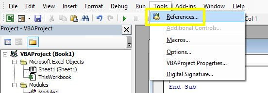 How to Send Emails From an Excel Spreadsheet Using VBA Scripts references