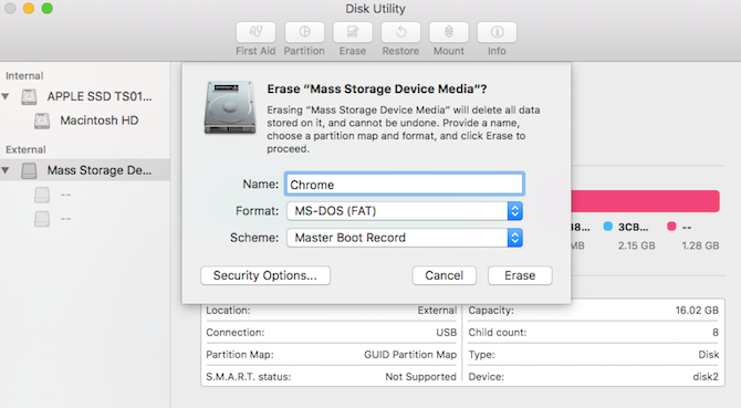 Format a USB drive with Disk Utility on macOS