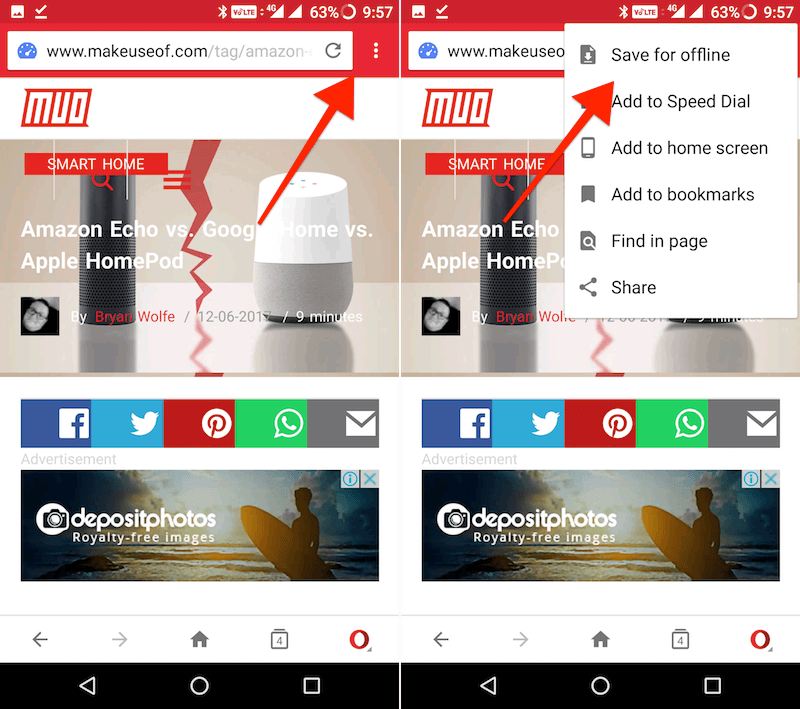 save pages offline with Opera - save button