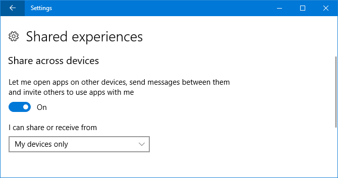 shared experiences windows 10