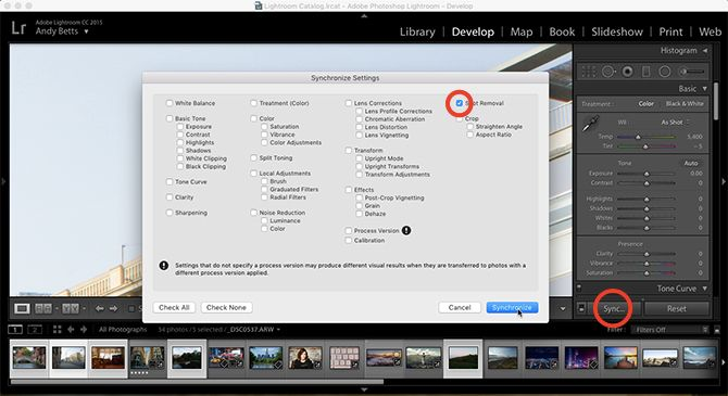 sync settings lightroom