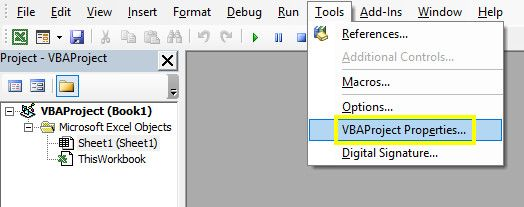 vba project properties