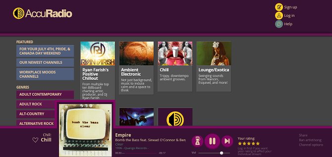 10 Free Pandora Alternatives We Give the Thumbs-Up web player accuradio
