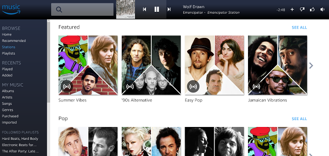 10 Free Pandora Alternatives We Give the Thumbs-Up web player amazon prime music