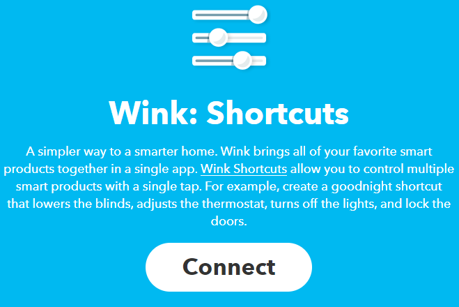 wink shortcuts ifttt