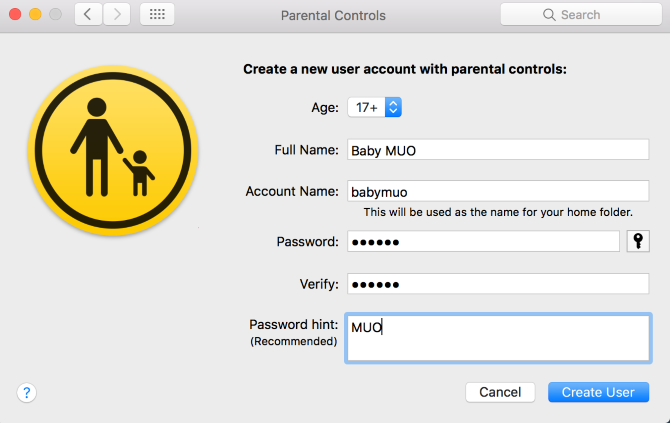 mac create parental controls account