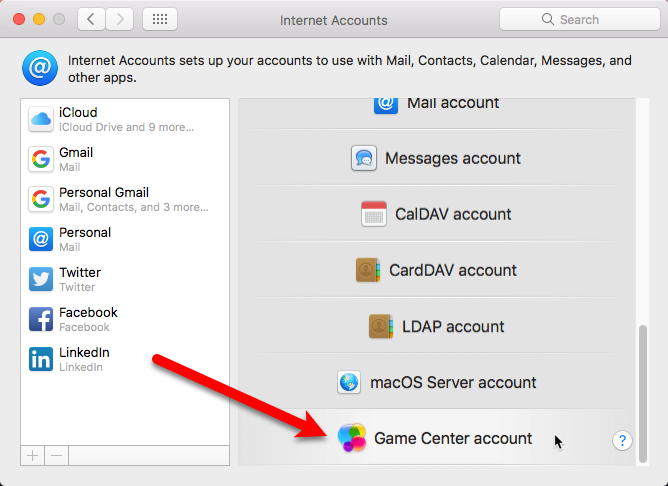 game center account mac
