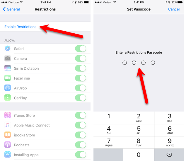 game center passcode restriction