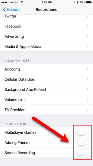 game center restrictions