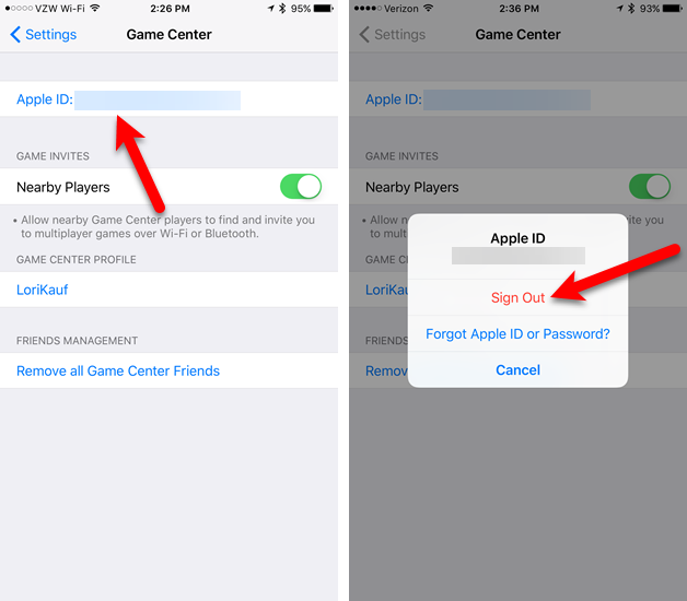 sign out game center ios