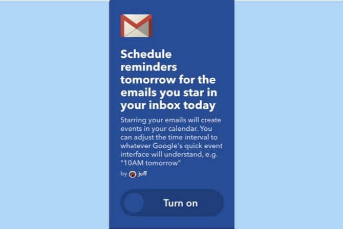 ifttt gmail starred emails calendar reminders