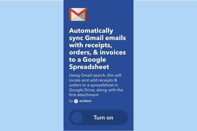 ifttt gmail receipts invoices orders google spreadsheet