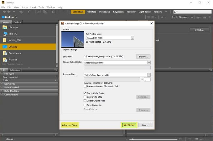 adobe bridge get photos windows