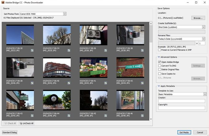 adobe bridge get photos windows advanced