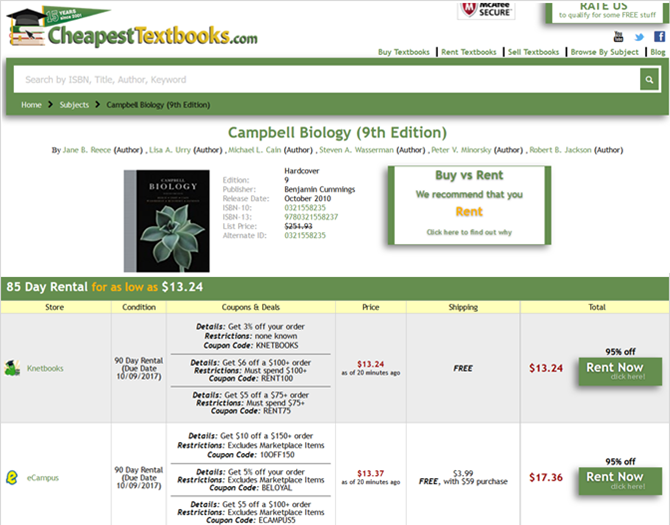 cheapest textbook rentals