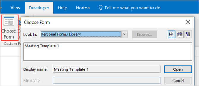outlook desktop choose form template