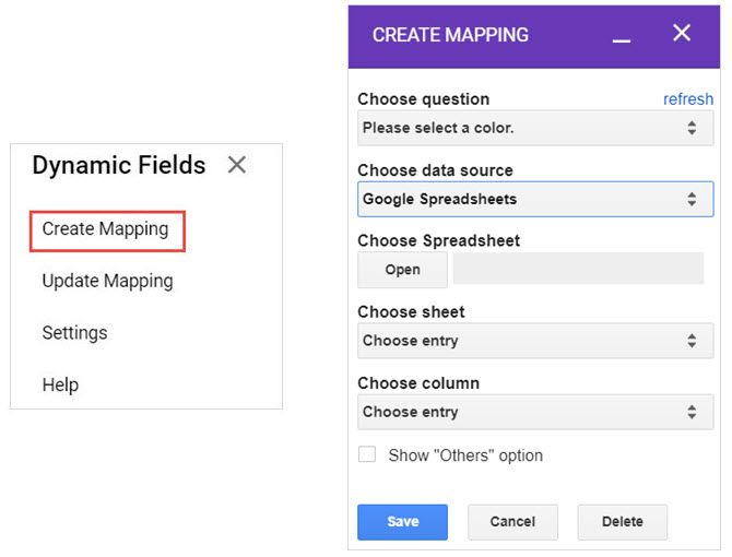 google forms dynamic data