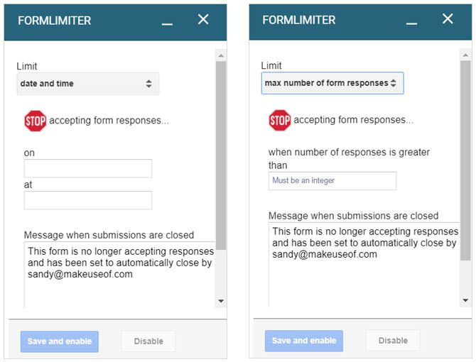 google forms formlimiter