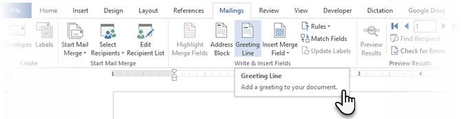 Insert The Greeting Line in Microsoft Word