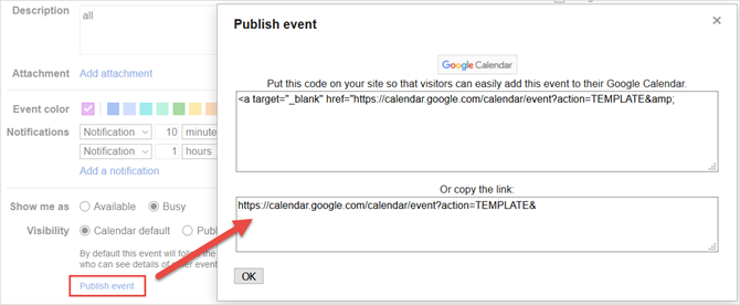 google calendar publish event link