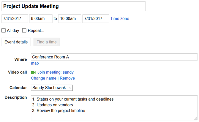 google calendar use event template