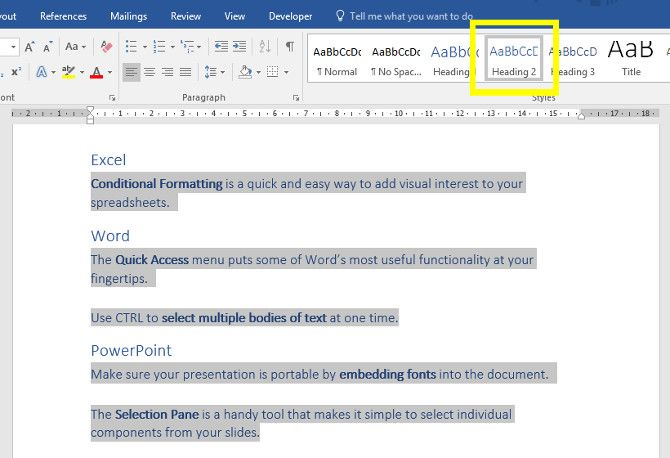 powerpoint adding headings