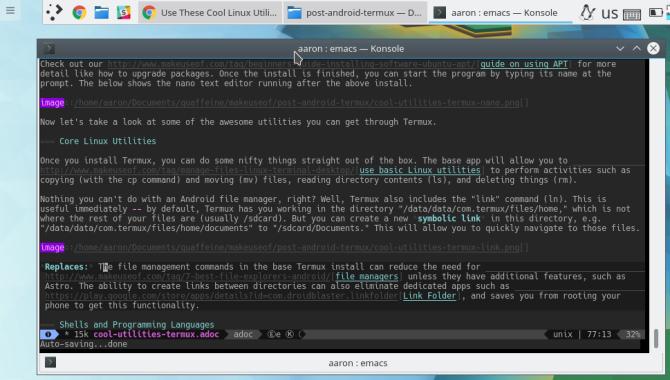 termux emacs konsole