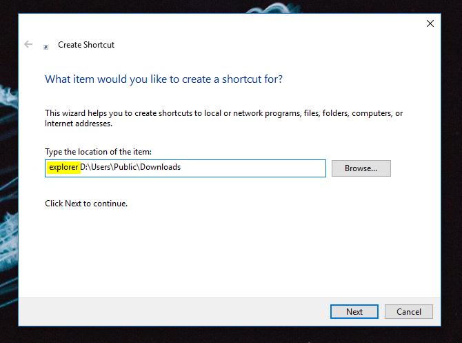 windows 10 taskbar create shortcut