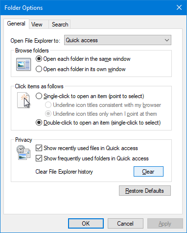 folder options clear history file explorer