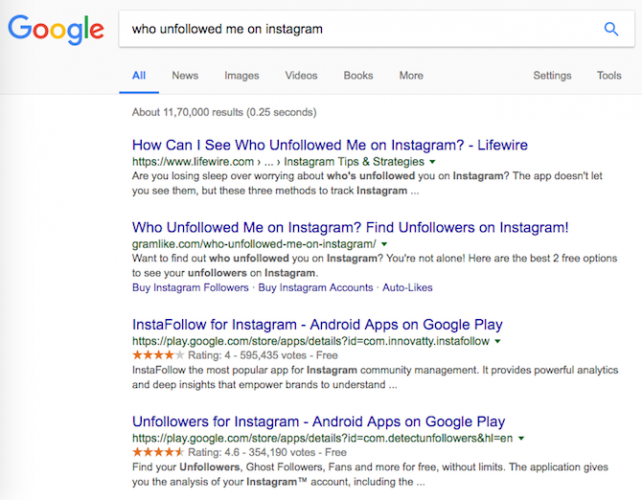 instagram unfollowed google search results