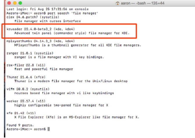 intro macports search filemanager