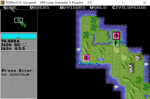 Civilization on a Raspberry Pi with DOSBox