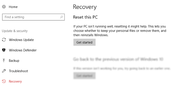 How to Factory Reset Windows 10 or Use System Restore muo windows reset started