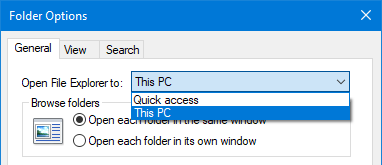 open file explorer to this pc