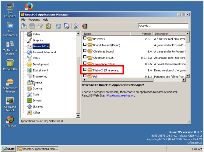 reactos review application manager
