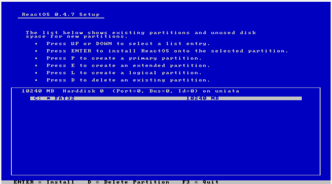 reactos review install4 disk