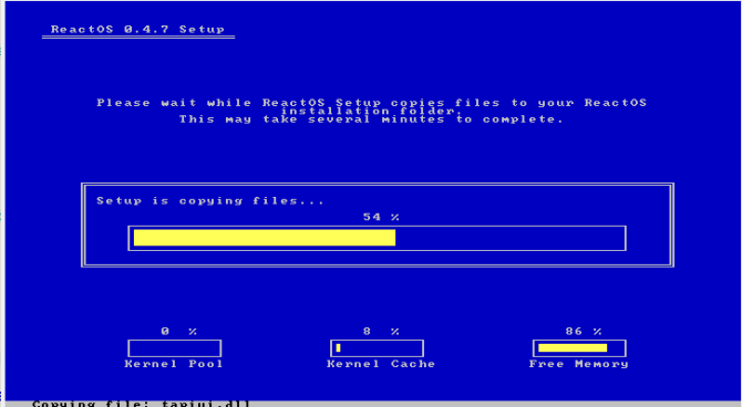 reactos review install8 installing