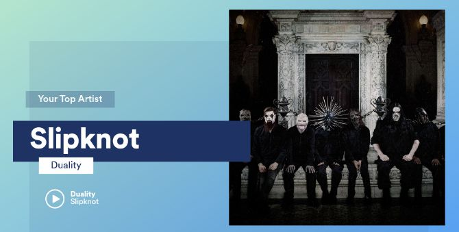 My top artist, Slipknot, as displayed by Spotify.Me