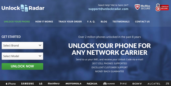 Unlock Radar provides SIM unlock codes for most phones and carriers
