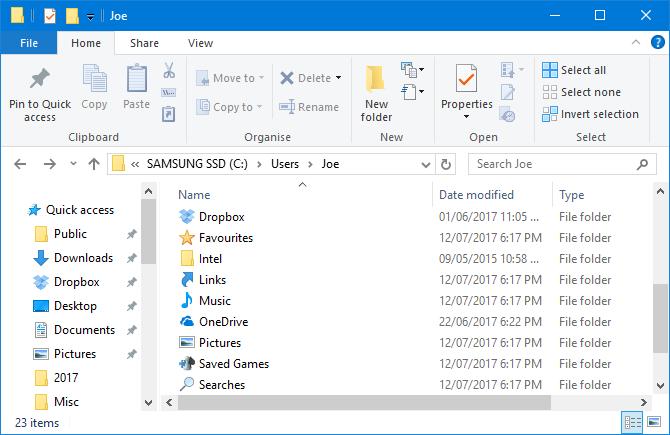 user profile folders