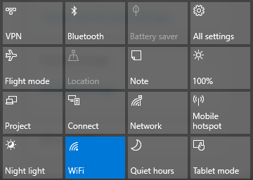 windows 10 quick action wi-fi