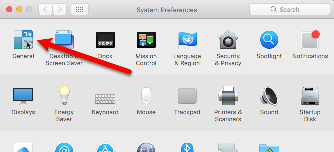 general in system preferences mac