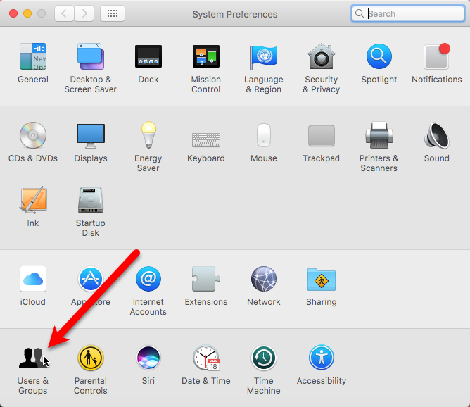 users groups system preferences