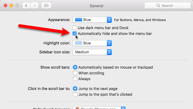 automatically hide menu bar in mac